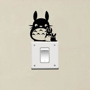 Totoro Mom And Totoro Baby Switch Sticker Vinyl Switch Decor Living Room Wall Decal 3SS0011
