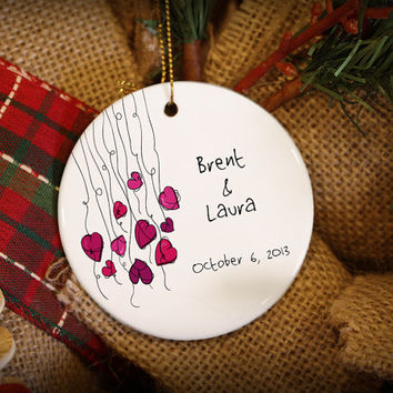 Customizable Christmas Ornament: Hearts on Strings