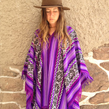 Sweet Silence Purple Peruvian Poncho / Cape - Native & Handmade with Incan Sun