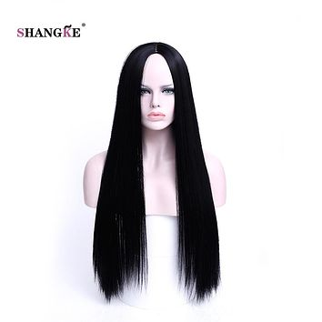 SHANGKE hAIR 30'' Long Straight Synthetic Wigs For Black Women Long Natural Black Wig Heat Resistant Synthetic Hair Wig