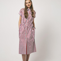Shirt Dress Stripes Dress Red Dress Red Striped Shirt Dress With Short Sleeves