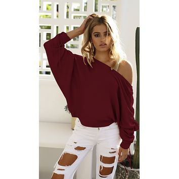 Off Shoulder Sweaters with Bat Sleeves