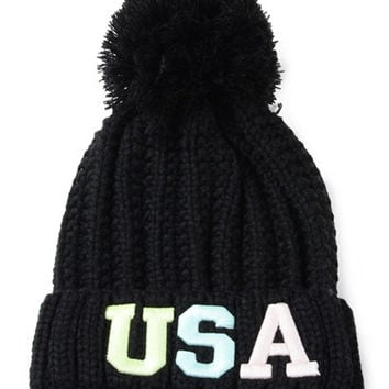 Black Neon Letter Embroidery Ball Top Knit Beanie Hat