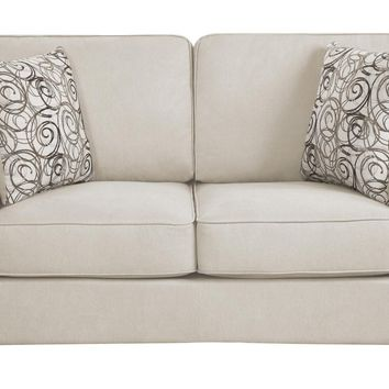 Polyester Upholstered Loveseat With 2 Pillows, Beige