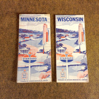 Vintage Standard Oil Maps - Minnesota - Wisconsin - 1965 - Highway Road Maps - Travel Routes