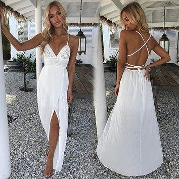 Boho Women's Beach Sexy Summer Dress Fashion Floral Dress Solid White V-neckline Deep Waist High Ankle-Length Dress Robe Femme