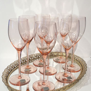 "Mikasa Pink Wine Glasses NWT, Set (8) Pink Mikasa Crystal Goblets, Mikasa Rose Pink Elegance Elite Wine Glasses or Water Goblets 9 1/4"" Tall"
