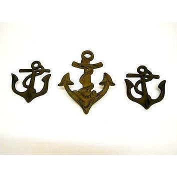 Nautical Decor Anchor Hooks Cast Iron Towel Beach Ocean Kitchen Bath 3 Pc Set