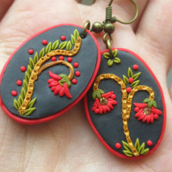 Flamenco Dance jewelry - special and unique red handmade earrings from Lena