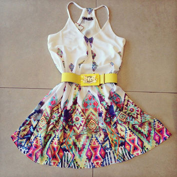 Off-Shoulder Sleeveless V-neck Geometric Print Short Dress Sundress