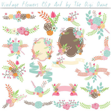 Digital Scrapbooking Elements/Clip Art: Vintage Floral Bouquets with Ribbons, Banners and Emblems in Pastels