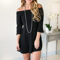 High Hopes Flare Off the Shoulder Dress - Black