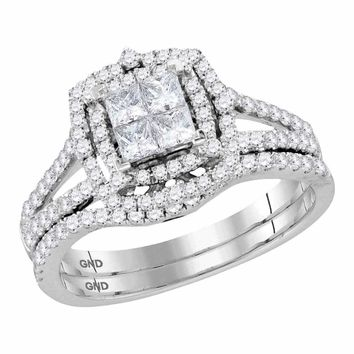 14kt White Gold Women's Princess Diamond Halo Bridal Wedding Engagement Ring Band Set 1.00 Cttw - FREE Shipping (US/CAN)