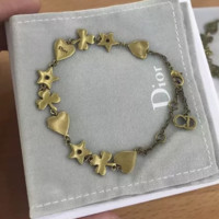 Dior summer new retro love heart five-pointed star leaf women bracelet accessories Golden