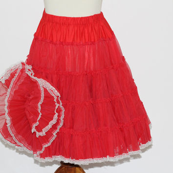 Square Dance Slip / Crinoline Bright Red | Soft Full Circle Petticoat 4 Tiers | White Silver - Flecked Lace Hem | Sz M-L