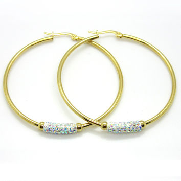 Women Gift Sale Fashion Jewelry 3 Size 18k Gold Huge Circular Crystal Clay Hoop Earrings Basket Ball Wives Earrings