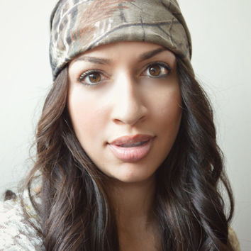 Real Tree Camo Stretchy headwrap, Boho Hippie Head wrap