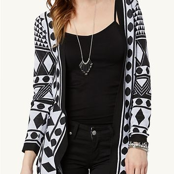 Geo Mix Cascading Front Cardi