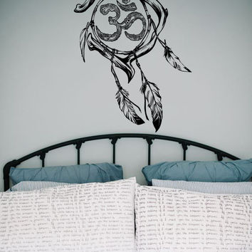 Dream Catcher Dreamcatcher Feathers Hindu Om Symbol Wall Decal Vinyl Sticker Decals Bedroom Home Wall Art Decor Wall Decals V989