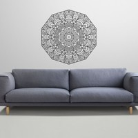 Mandala Wall Decal Namaste Flower Mandala Indian Lotus Yoga Wall Vinyl Decals Sticker Home Interior Wall Decor for Any Room Housewares Mural Design Graphic Bedroom Wall Decal Bathroom (5887)