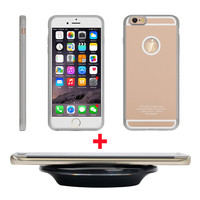 """Magic Qi Wireless Charger Pad for iphone + Wireless Charging Receiver Phone Case Cover for iPhone 6 6s 4.7"""" Rose Gold Silver"""