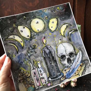 Terri Foss Art Print 8x8 sq from Original Painting Moon Phase Candle Skull Herb Crystals Altar Witch Wiccan Witchcraft Cat Halloween Art