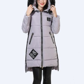 Faux Fur Hooded Winter Jacket Women Thick Letter Embroidery Down Cotton Coat Casual Girl Preppy Warm Parka