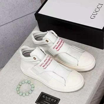 GUCCI 2018 new fashion high-end men's Martin boots white shoes