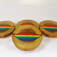 Rainbow Lips Coasters, Wood Coasters, Rainbow Coasters, Novelty Coasters, CIJ, Christmasinjuly, Christmas in July