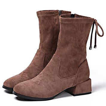 Winter Women Boots Suede Mid-Calf Boots Ladies Dr Martens Basic Boots Back Lace-Up Zipper Shoes Woman Size 39 Female Brown
