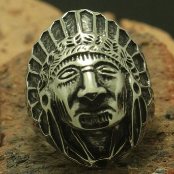 Men's / Boy's 316L Stainless Steel Silver Indian Native American Ring