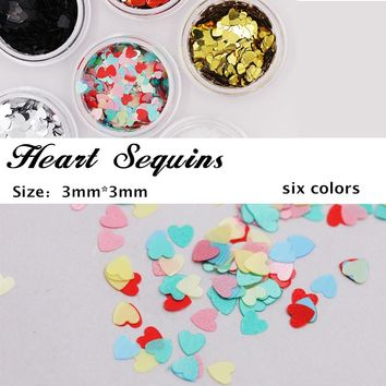 1 Box Colorful Love Design Ultra-thin Nail Sequins Glitter Tips Nail Art Decoration Manicure DIY Nail Art Decoration