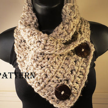 Crochet Cowl Pattern, Crochet Scarf Pattern, Button Scarf