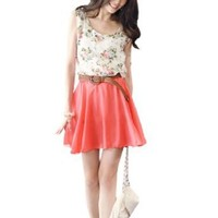 Allegra K Women Flower Print Scoop Neck Sleeveless Elastic Waist Chiffon Dress White Watermelon Red XS