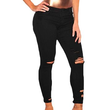 Women's Black Denim Destroyed Ankle Length Skinny Jeans