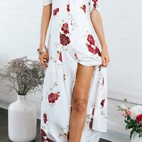 Don't Need You Floral Pattern Short Sleeve Off The Shoulder Ruffle Button Casual Maxi Dress - 2 Colors Available