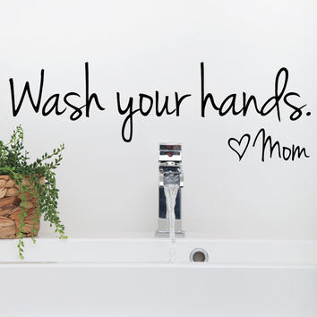 Bathroom Wall Decals - Wash your hands decal - wash your hands sign - bathroom stickers - Wall Decals - Wall Decor - Wall Stickers - Decal