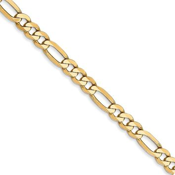 4mm 14k Yellow Gold Solid Flat Figaro Chain Necklace
