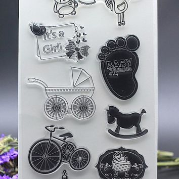 11x20CM Clear Stamp for DIY Scrapbook Card album paper craft silicon rubber roller transparent stamp girl baby shower