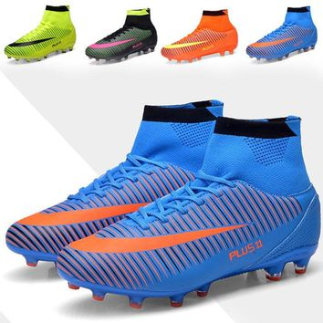 New Men High Ankle Football Boots FG Soccer Shoes Superfly Turf Sock Cleats Training Nail Big Size Sneakers Botas Futbol