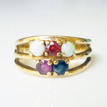 10K Gold Ring Ruby Garnet Topaz Opal Gemstone Modernist Vintage Jewelry