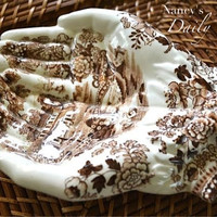 Brown English Transferware Clarice Cliff Tonquin Open Hands Soap Dish Tray Staffordshire - Hand Shaped Trinket Dish