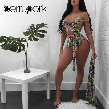 BerryPark Sexy High Waist Cross Bandage Bikini + Cover Up 3 Pieces Set 2019 Summer Women Leaf Print Swim Bathing Suit Beach Wear
