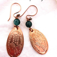 Gemstone and Copper metal flatened penny earrings with WA state images.
