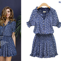 Retro Print V-Neck Elastic Waist Flounce Mini Dress