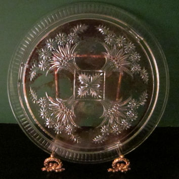 Indiana Glass Cake Plate Floral Decoration Painted Red