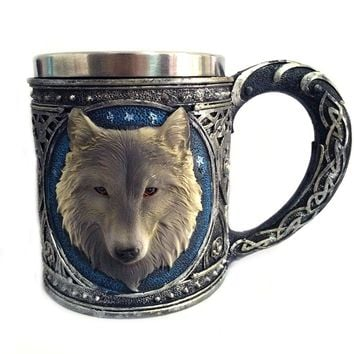 3D Wolf Mug Stainless Steel