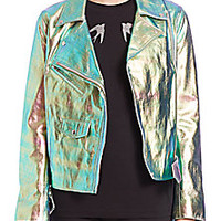 McQ Alexander McQueen - Metallic Foil Leather Biker Jacket - Saks Fifth Avenue Mobile