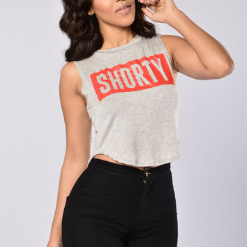 His Shorty Crop Tee - Heather Grey