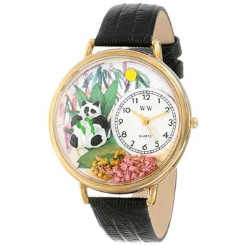 SheilaShrubs.com: Unisex Panda Bear Black Skin Leather Watch G-0150017 by Whimsical Watches: Watches